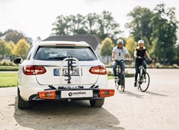 Westfalia bikelander Fahrradträger für Anhängerkupplung - Zusammenklappbarer Kupplungsträger für 2 Fahrräder - E-Bike geeigneter Universal-Radträger mit 60kg Zuladung - 6