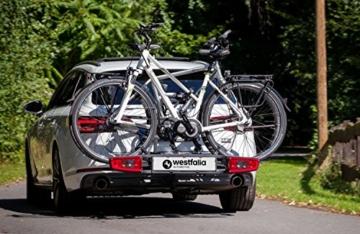 Westfalia bikelander Fahrradträger für Anhängerkupplung - Zusammenklappbarer Kupplungsträger für 2 Fahrräder - E-Bike geeigneter Universal-Radträger mit 60kg Zuladung - 7